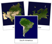 Hemisphere and Continent Cards (Satellite Images) - Printable Montessori geography materials by Montessori Print Shop.