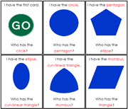 I have, Who has - Geometric Shapes. Printable Montessori Geography Materials by Montessori Print Shop.
