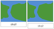 Land and Water Form Cards (b/g) - Printable Montessori geography materials by Montessori Print Shop.