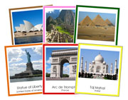 World Landmarks Bundle (color borders) - Printable Montessori Geography Materials by Montessori Print Shop.