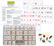 Moveable Alphabet with Letters, Pictures, and Instructions- Printable Montessori materials by Montessori Print Shop.