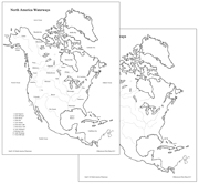 North America Waterways Map - Printable Montessori geography materials by Montessori Print Shop.