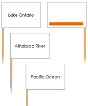 North America waterway labels - pin flags (color-coded) - Printable Montessori geography materials by Montessori Print Shop.