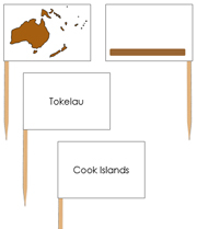 Australia - pin flags (color-coded) - Printable Montessori geography materials by Montessori Print Shop.