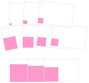 Pink Tower Cards Cornered - Printable Montessori Sensorial materials by Montessori Print Shop.