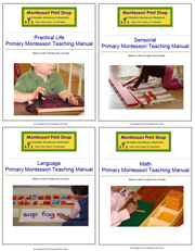 4 Primary Montessori Teaching Manuals - Printable Montessori materials by Montessori Print Shop.