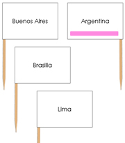 South America Capital Cities - pin flags (color-coded) - Printable Montessori geography materials by Montessori Print Shop.