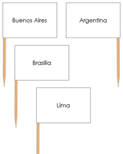 South America Capital Cities - pin flags - Printable Montessori geography materials by Montessori Print Shop.