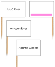 South America waterway labels - pin flags (color-coded) - Printable Montessori geography materials by Montessori Print Shop.