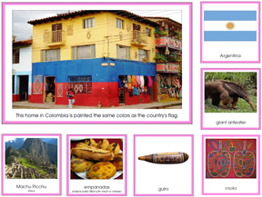 South America Geography Cards with Color Borders - Montessori Learning Materials for home and school.