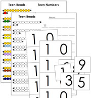 Teen Boards, Teen Beads and Teen Worksheets - Printable Montessori math materials by Montessori Print Shop.