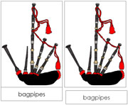 Bagpipes Nomenclature Cards - Printable Montessori nomenclature cards by Montessori Print Shop.