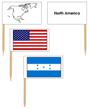 North American Flags - pin flags (no color coding) - Printable Montessori geography materials by Montessori Print Shop.