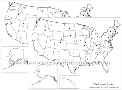 United States Map With Capital Cities.Usa Capital Cities Map Montessori Print Shop
