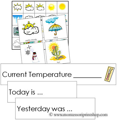 Number Names Worksheets montessori free printable materials : Weather Tracking Cards: Montessori Science and Culture Cards